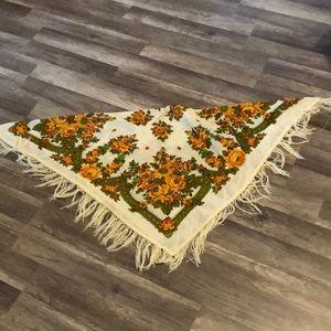 Vintage Accessories - Vintage floral scarf/Shaw